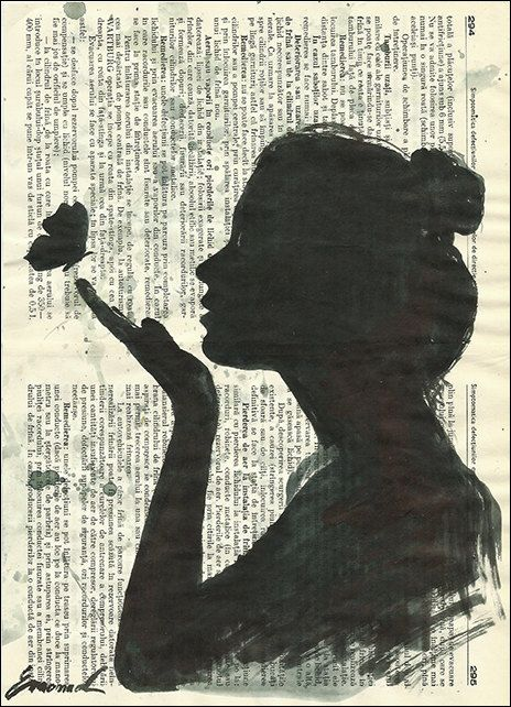 464x642 Print Art Sketch Ink Drawing On Recycled Book Pages Collage