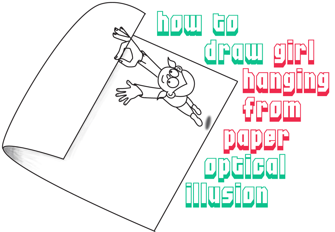 1173x811 How To Draw A Cartoon Character Hanging Onto Edge Of Curled