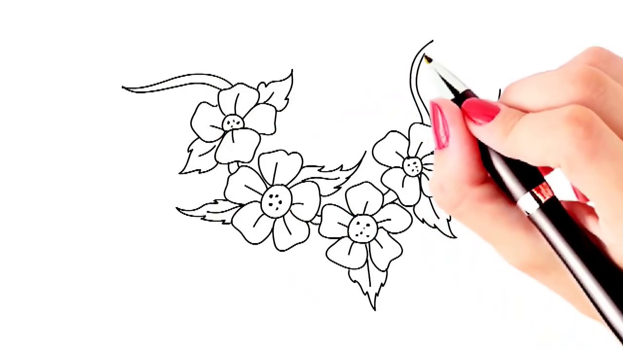 1280x720 How to draw beautiful flowers easy and simple drawing YZArts