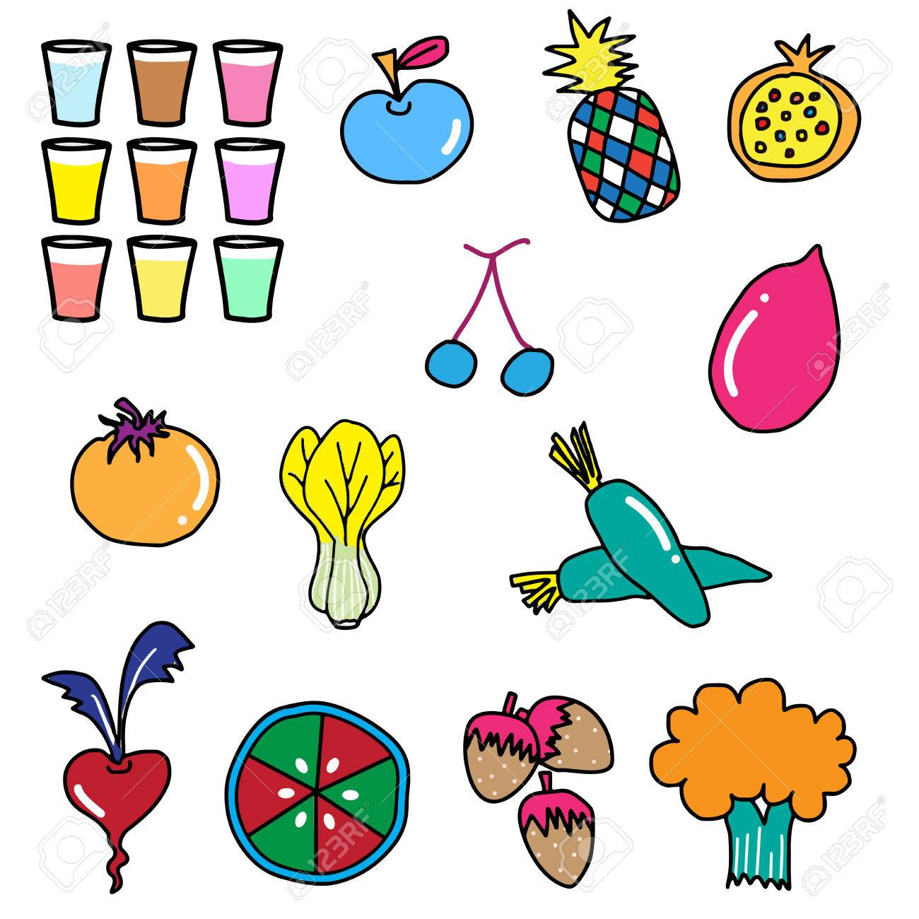 1300x1300 Colorful Vegetable Fruit Drawing Illustration Royalty Free