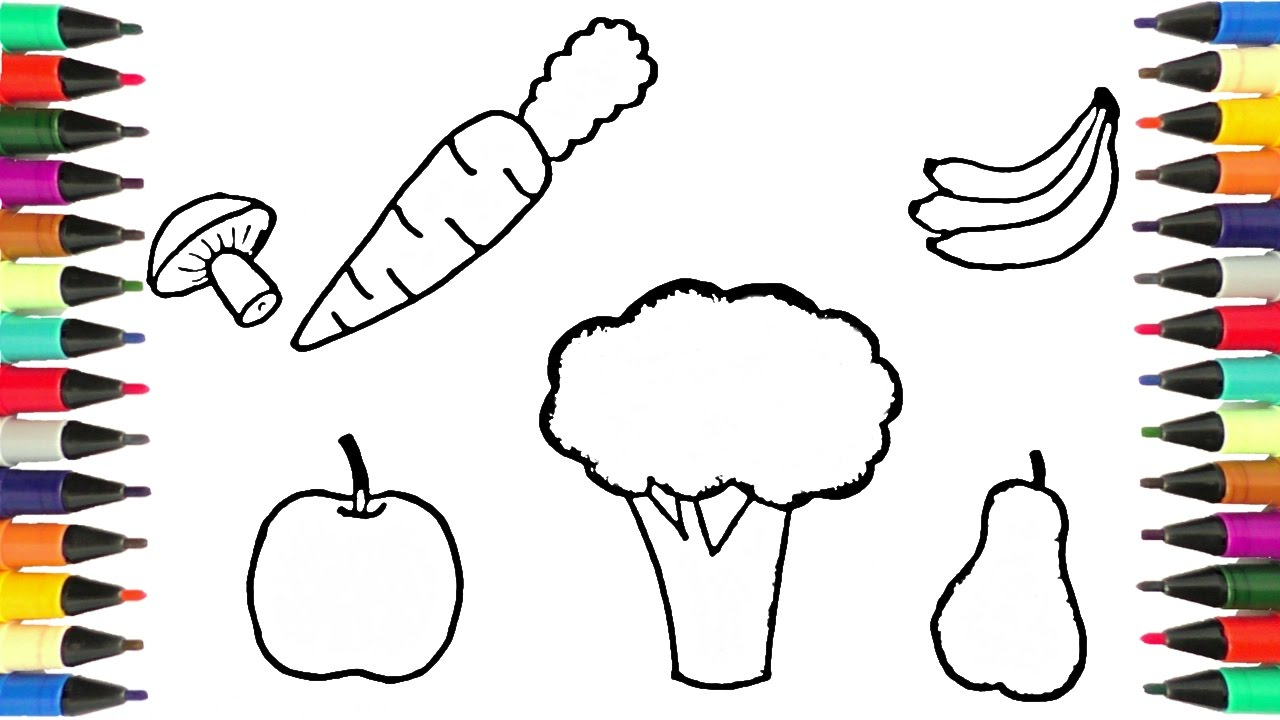 1280x720 Drawing Of Fruits And Vegetables Drawing And Coloring Fruits 11
