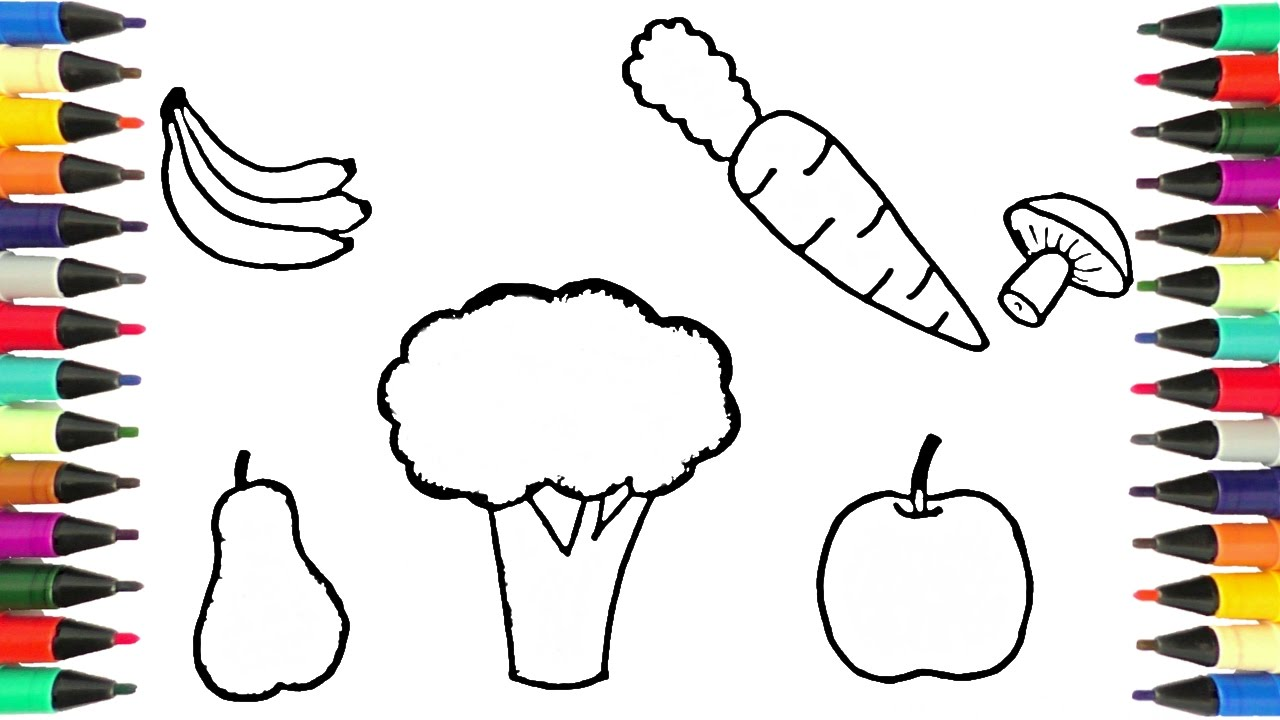 1280x720 Drawing And Coloring Fruits And Vegetables Learn Names