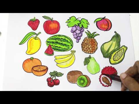 480x360 How To Draw Fruits And Vegetables And Coloring Dresses For Kids