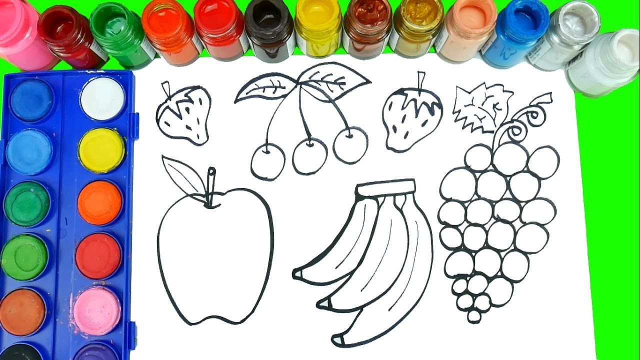 1280x720 How To Draw Fruits And Veggies Coloring Pages Learn Fruits