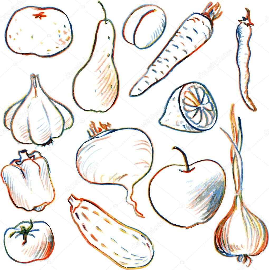 1020x1024 Set Of Drawing Vegetables And Fruits Stock Vector