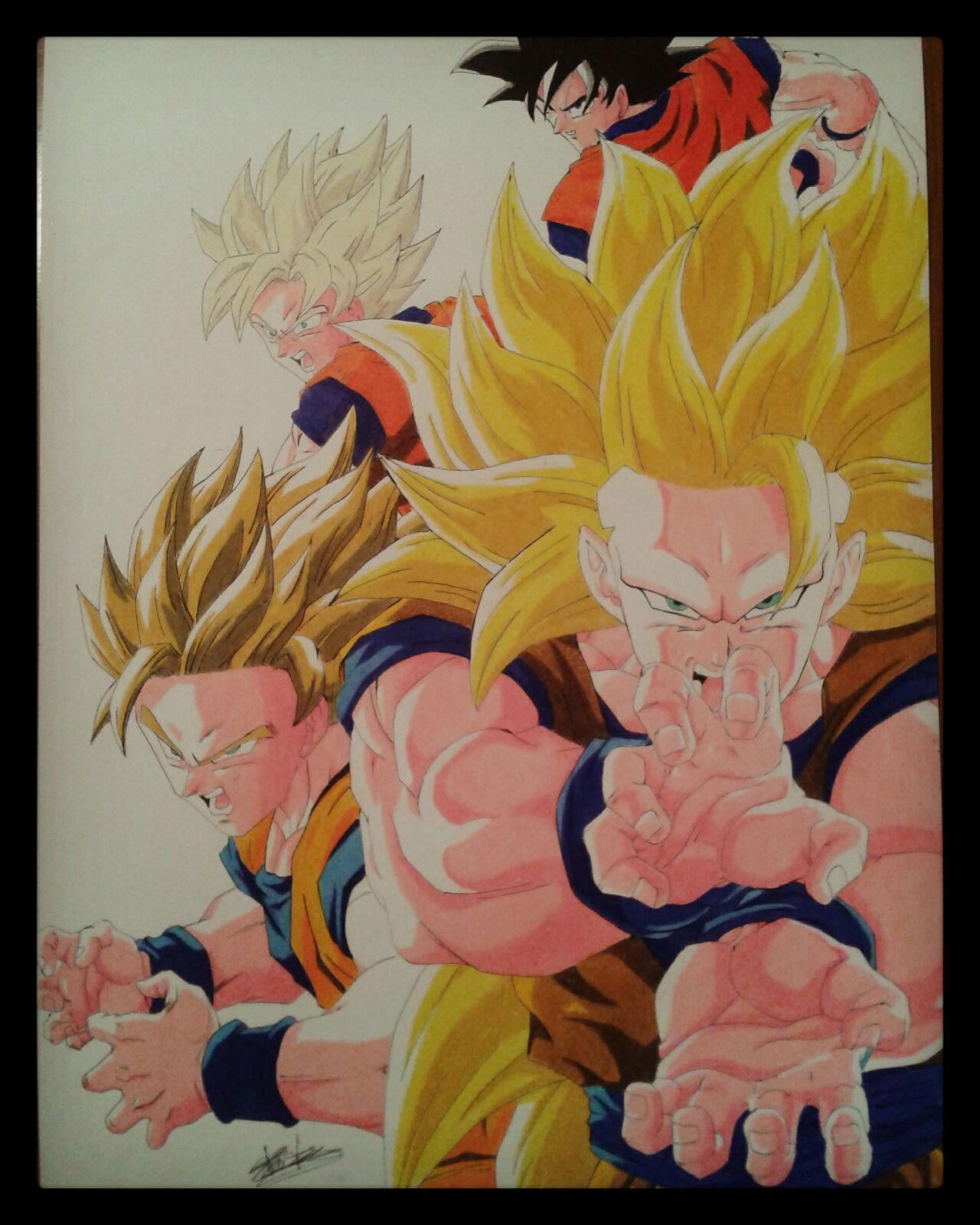 1280x1600 Prismacolor Colored Pencil Drawing Of Goku Normal To Ssj3. Speed