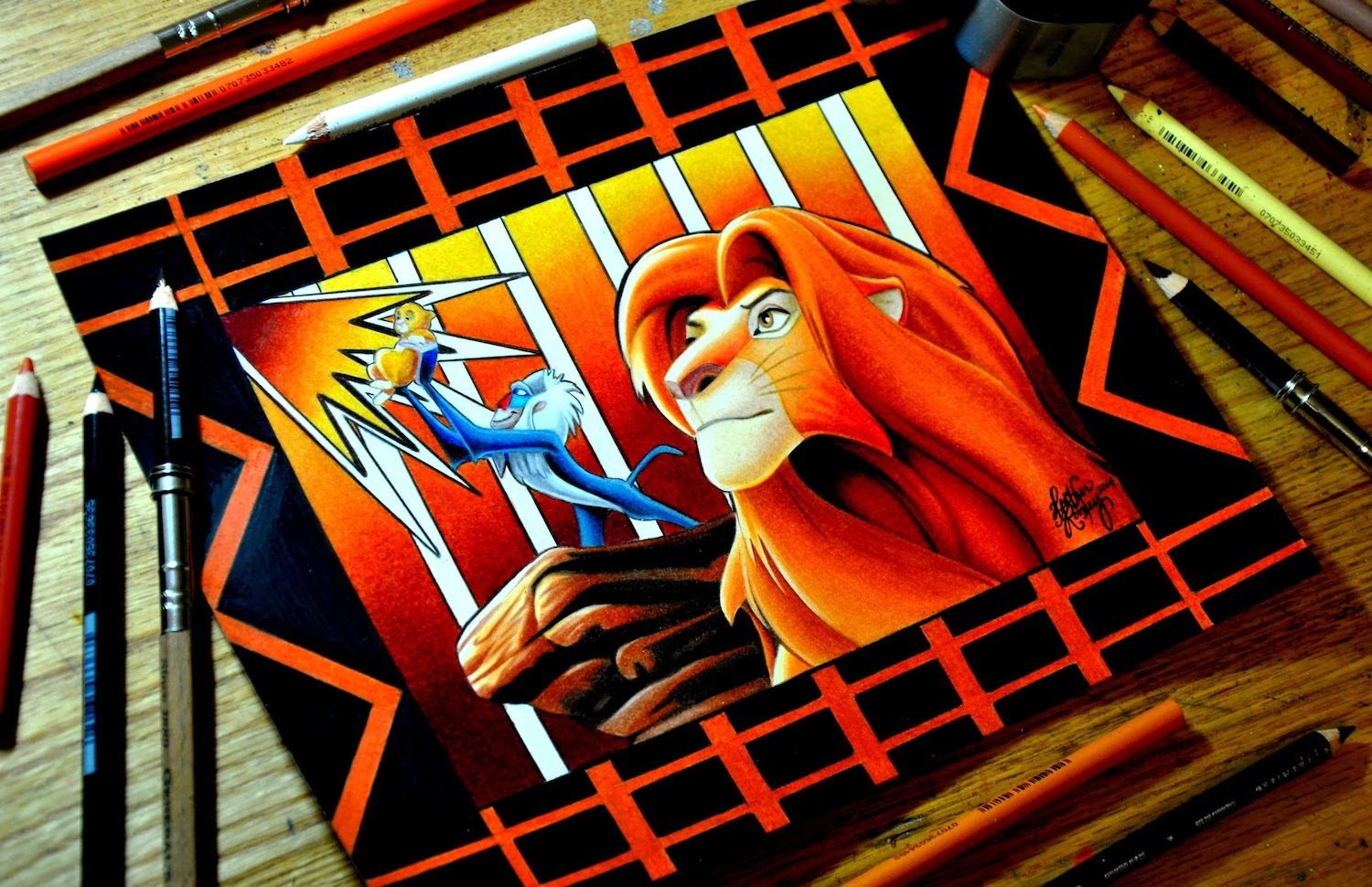 1500x970 The Lion King Colored Pencil Drawing