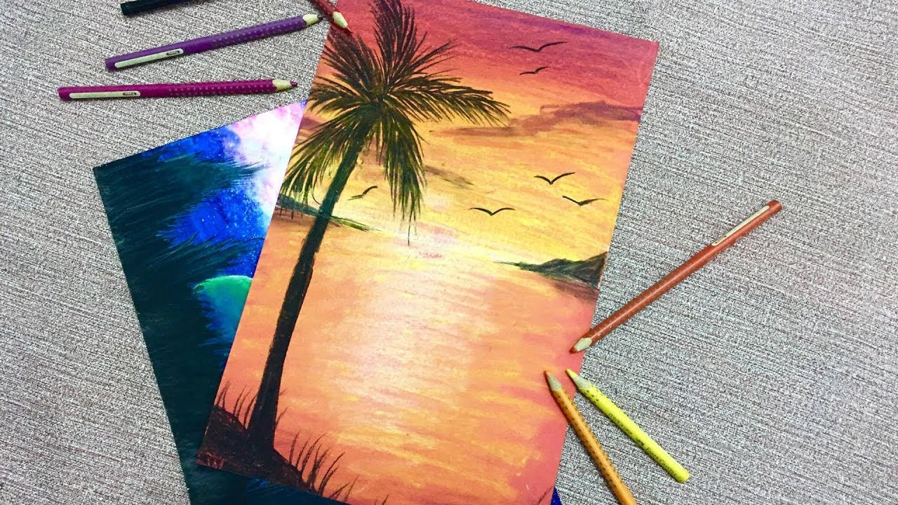 1280x720 Color With Crayons Seaside Sunset