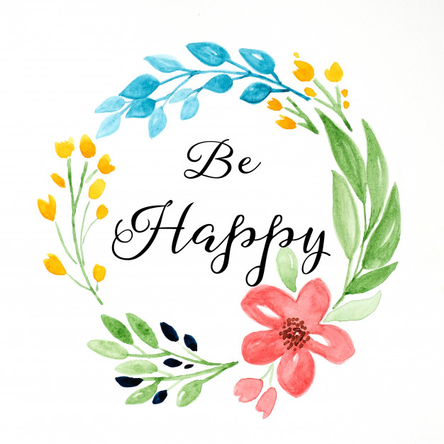 626x626 Be Happy Word, Quotation On Hand Drawing Flowers Wreath Over White