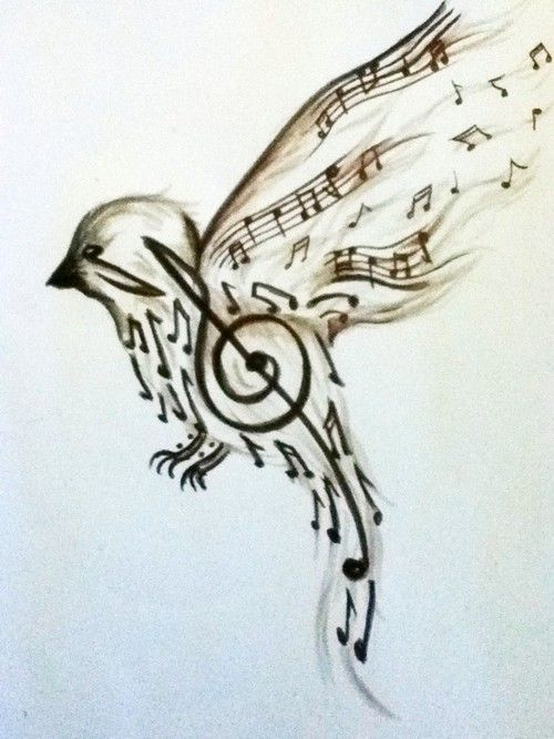 500x667 Bird And Music Notes Drawing Tattoo's Music Notes