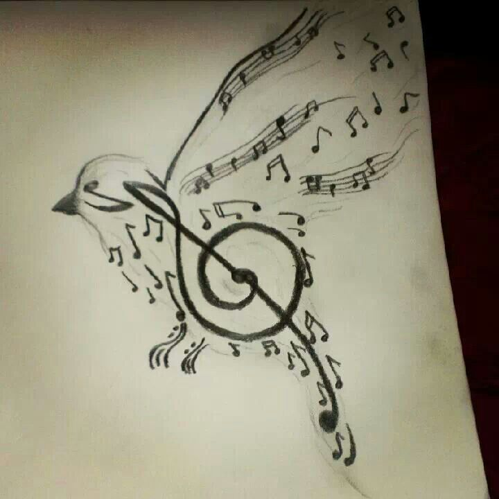 720x720 Bird Art Drawing With Music Notes My