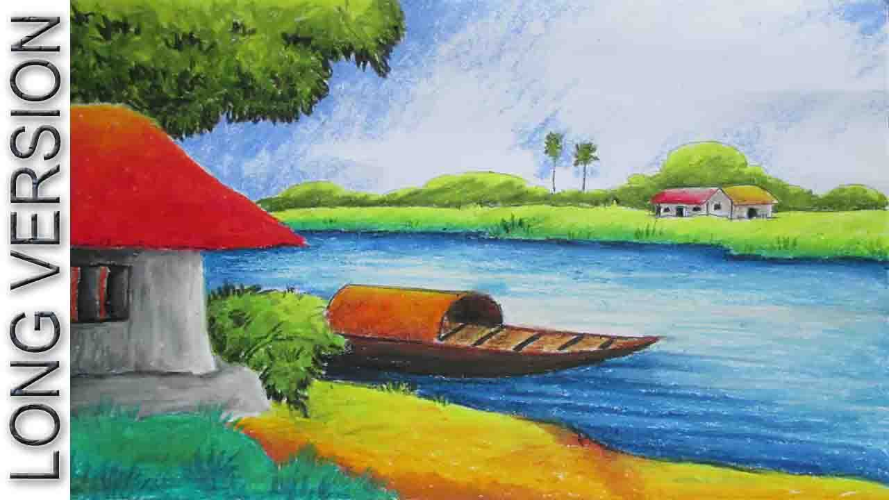1280x720 Pastel Painting Oil Pastel Landscape Drawing Tutorial [Long