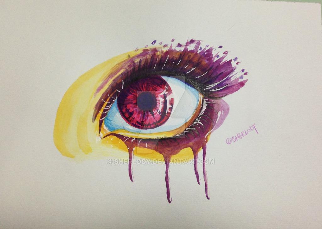 1024x730 Drawing Of A Pretty Purple Eye By Watercolor By Sherlody