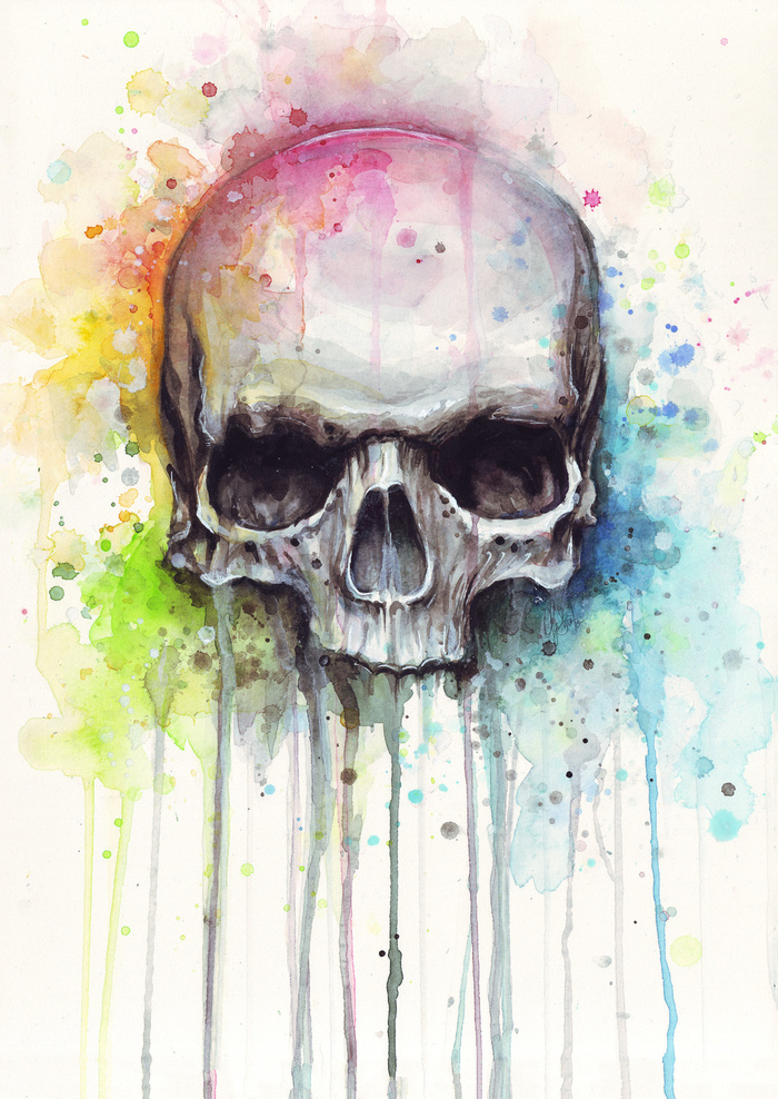 700x988 Skull Watercolor Print Rainbow Skull Wall Art Skull Decor Colorful