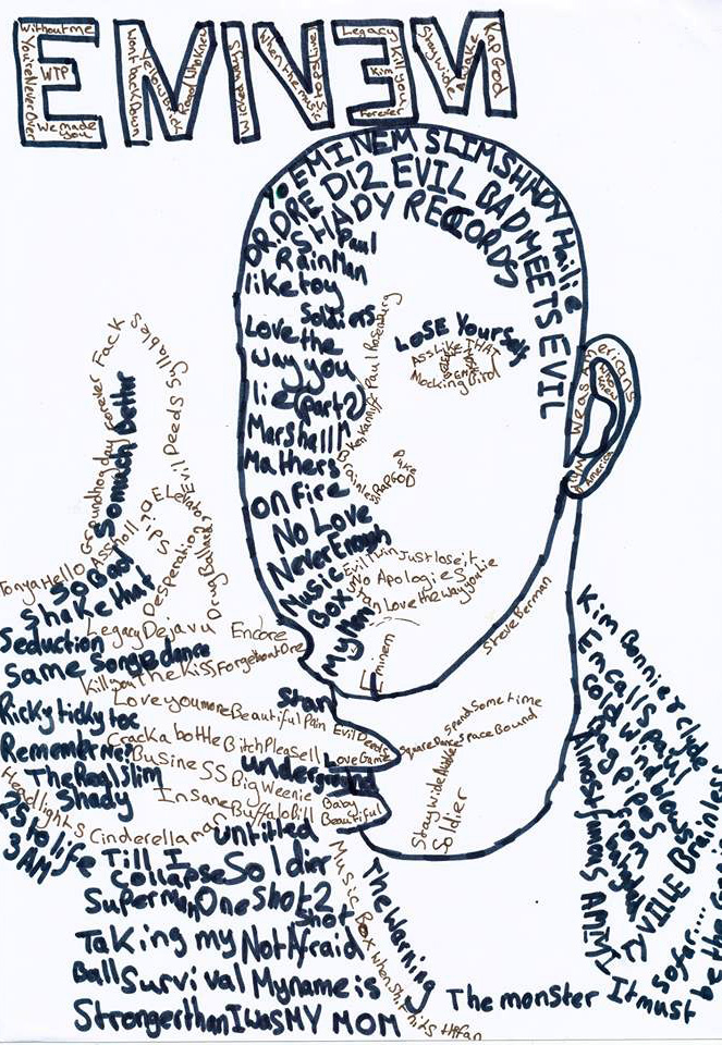 663x960 Eminem Recovery Drawing (With Words) By Ryangray 101