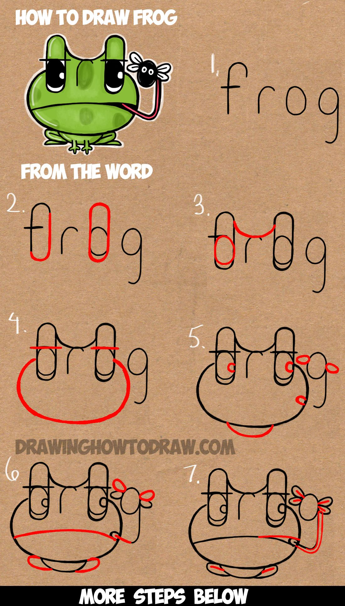 1100x1931 How To Draw Cartoon Frogs From The Word Frog Easy Step By Step