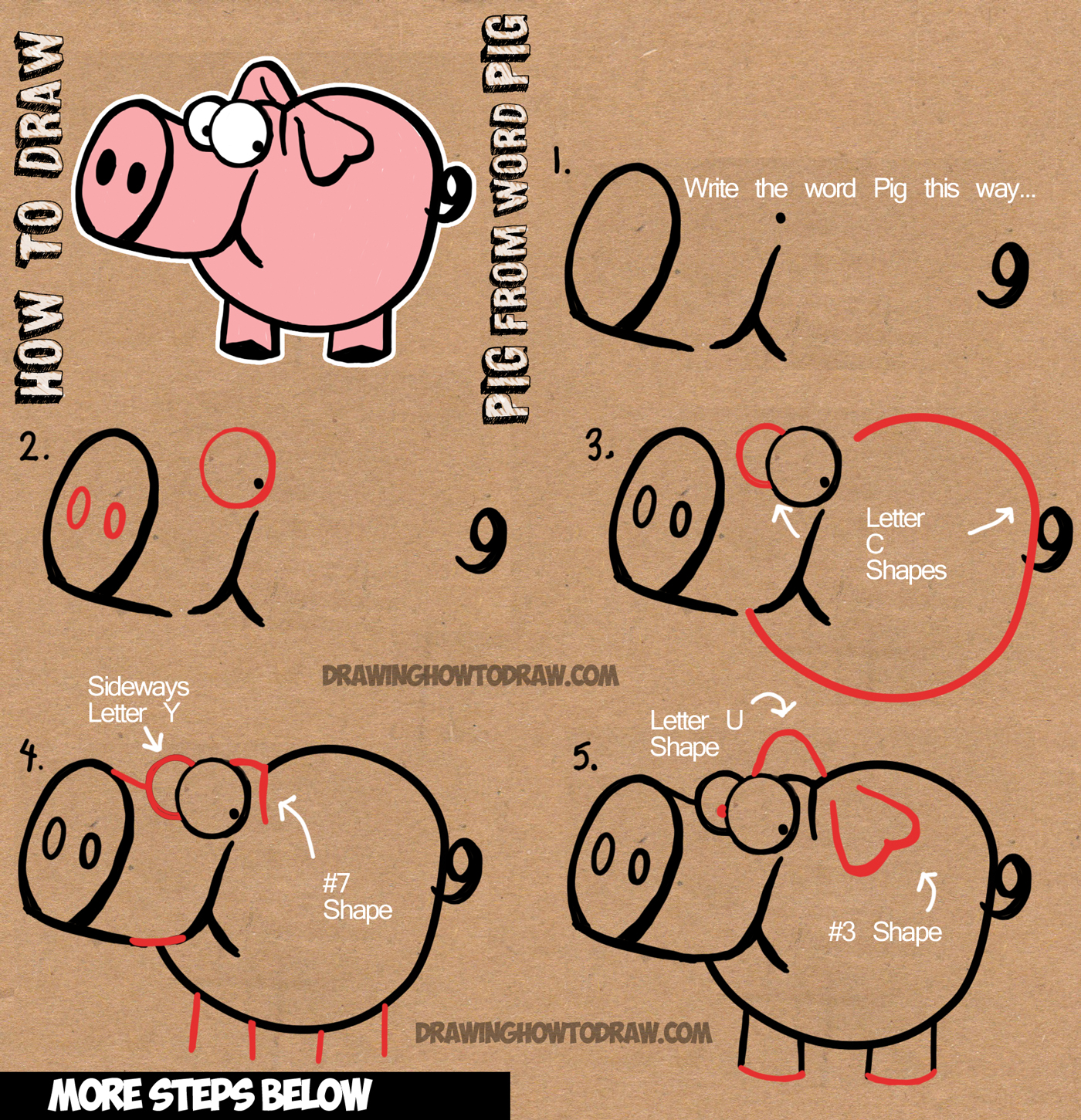 1400x1451 How To Draw Cartoon Pig With The Word Pig Drawing Lesson For Kids