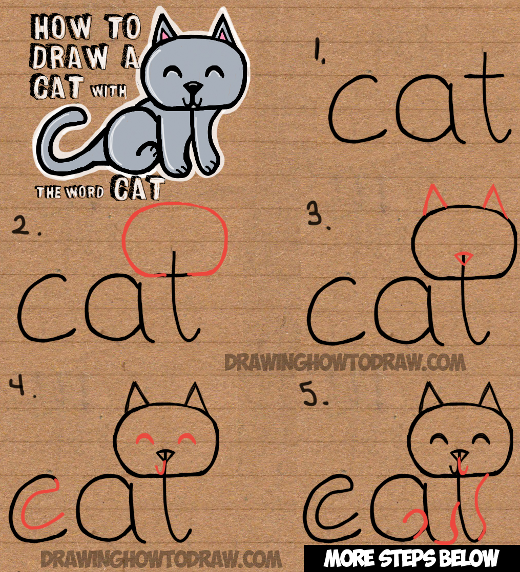 1015x1118 How To Draw A Cat From The Word Cat Easy Drawing Tutorial For Kids