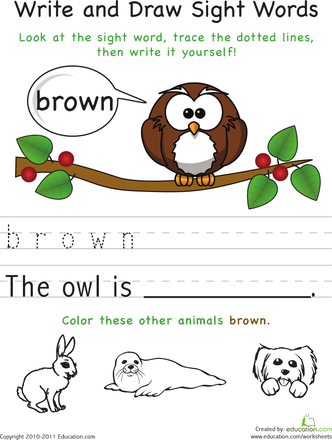 332x440 Write And Draw Sight Words Brown Worksheets, Kindergarten