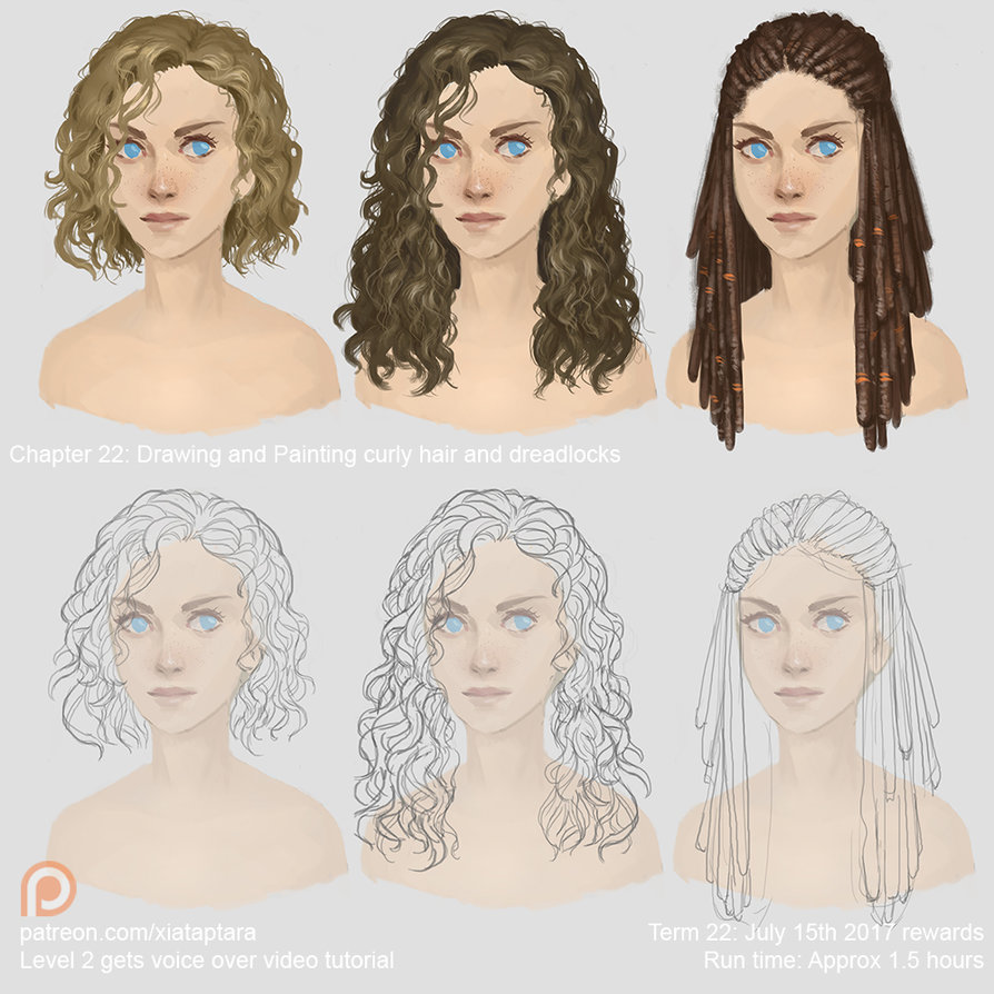 894x894 Drawing And Painting Curly Hair And Dreadlocks By Xiataptara