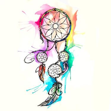 375x375 Watercolor Dreamcatcher Tattoo Design Tattoo Art Amp Drawings