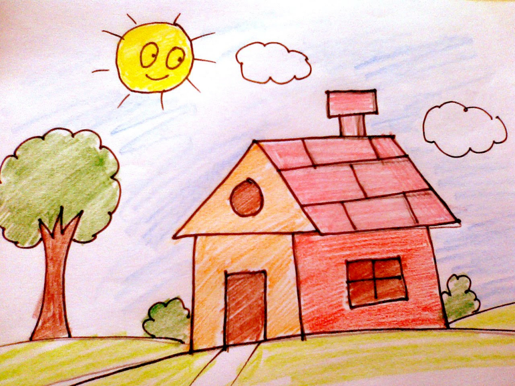 Superb 1024x768 Dream House Drawing For Children How To Draw A House For Kids