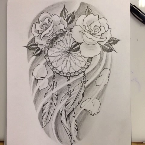 480x480 Dreamcatcher With Roses Tattoos Ideas