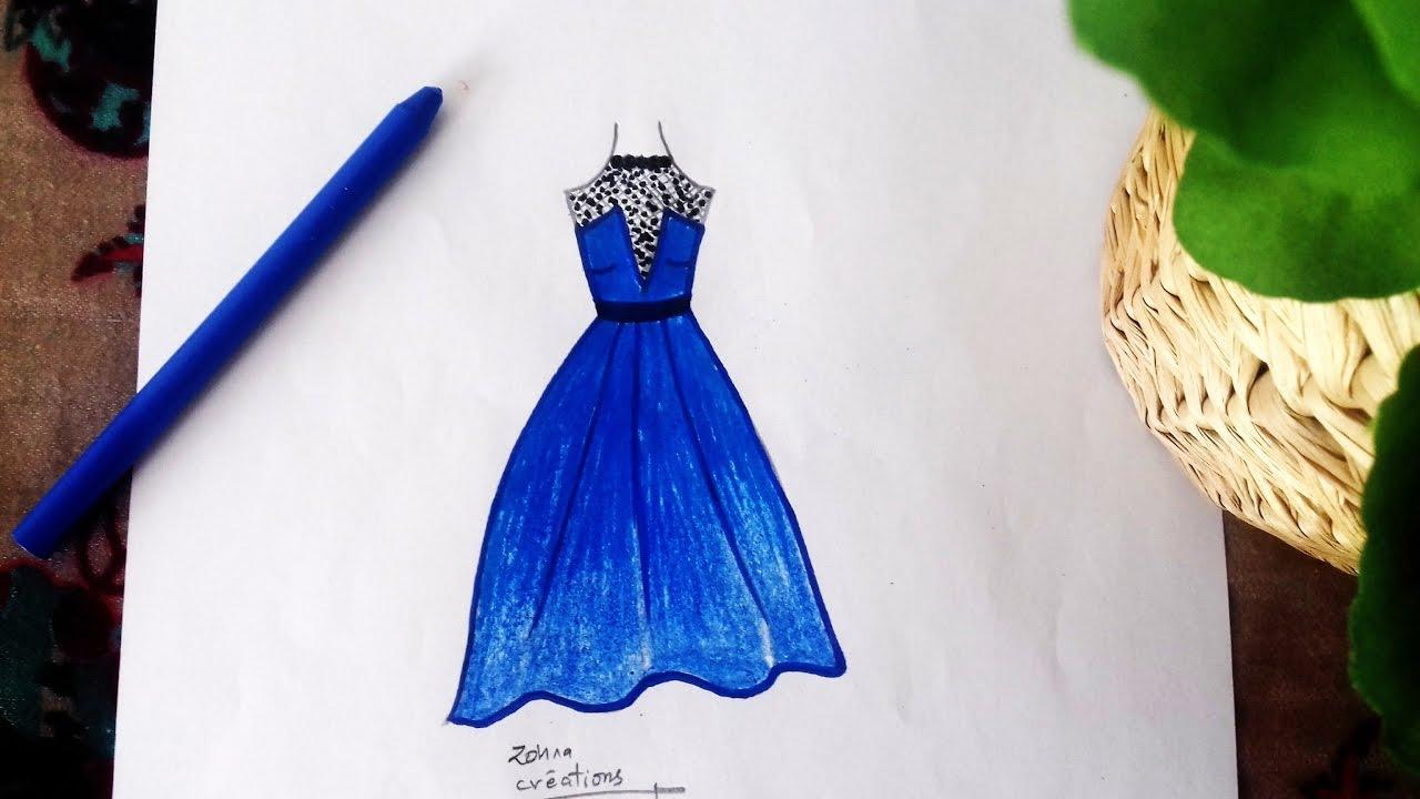 1280x720 Blue Dress Drawing