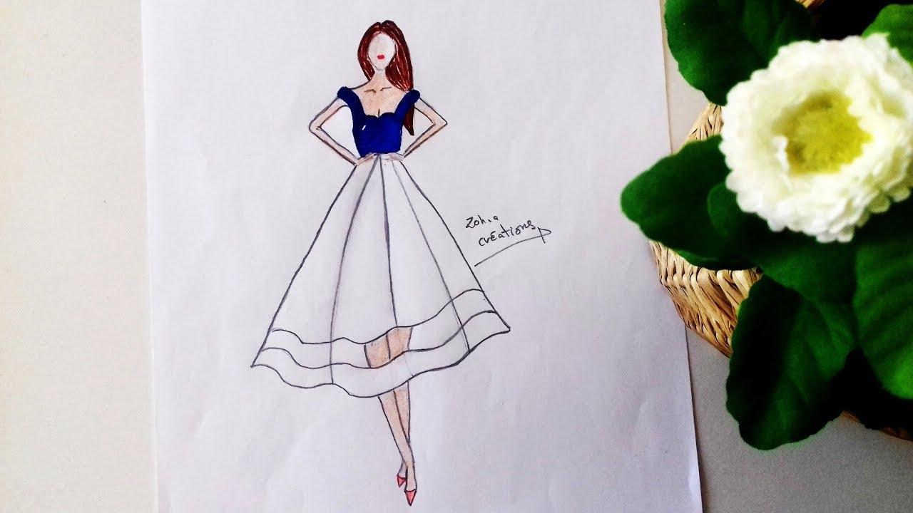 1280x720 Blue Amp White Dress Drawing