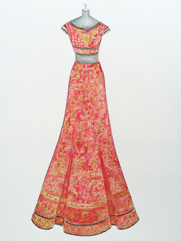 1125x1500 Custom Sari Drawing Original Indian Wedding Dress Drawing