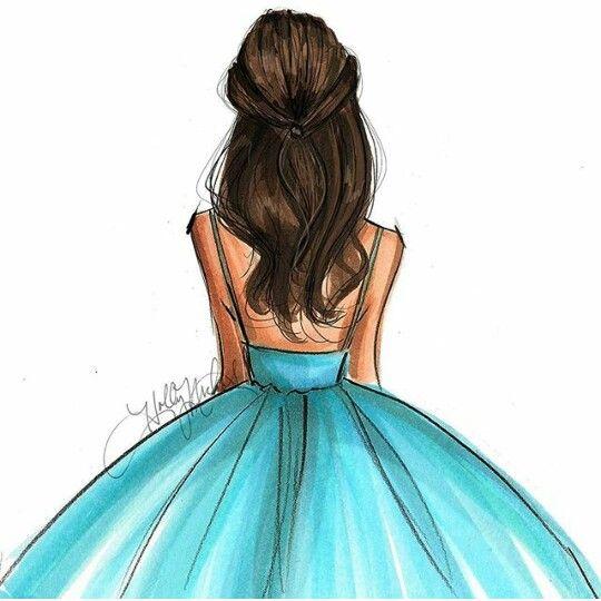 540x540 Cute Brunette In Blue Dress Drawing Artsyfartsy