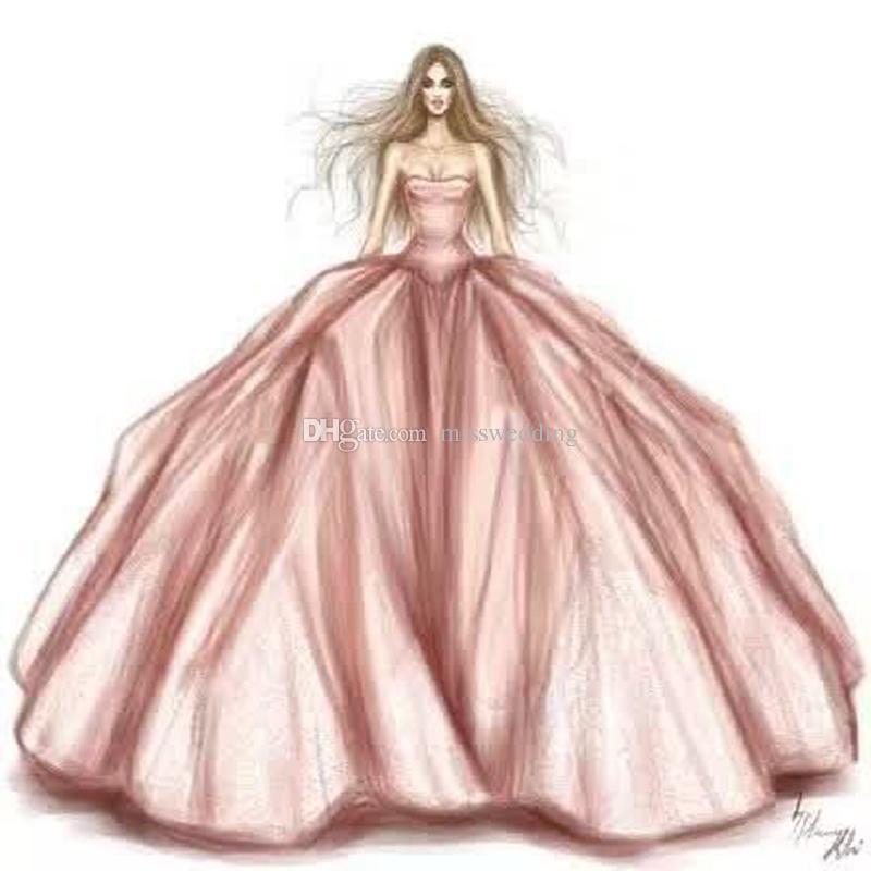 800x800 Professional Designer Drawing Puffy Off Shoulder Fashion Dress
