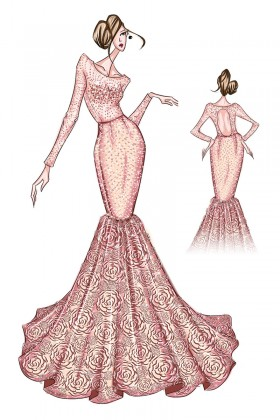 280x420 Rosette Prom Dress Sketch, Sketch Of Mermaid Shimmering Red Prom