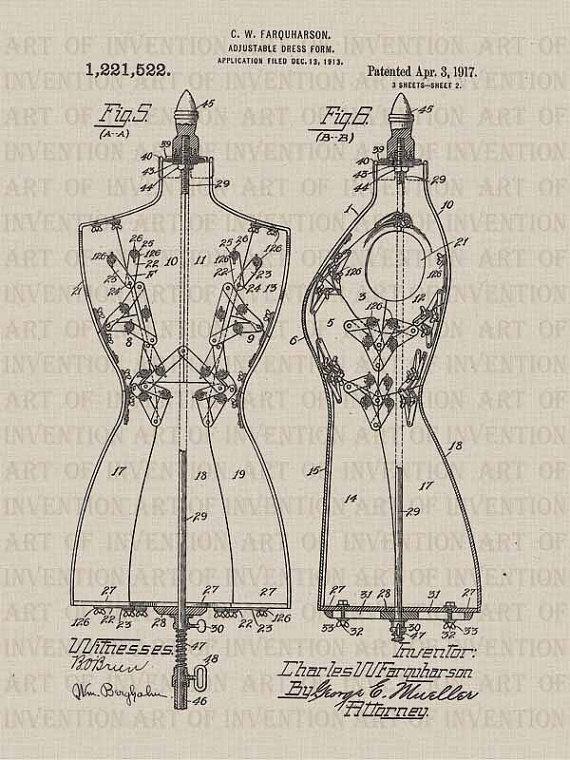 570x760 1917 Dress Form 522, Vintage Patent Illustration, Design Drawing