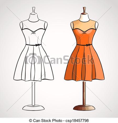 450x470 Hand Drawn Dress On Dressform. Hand Drawn Evening Dress On Eps