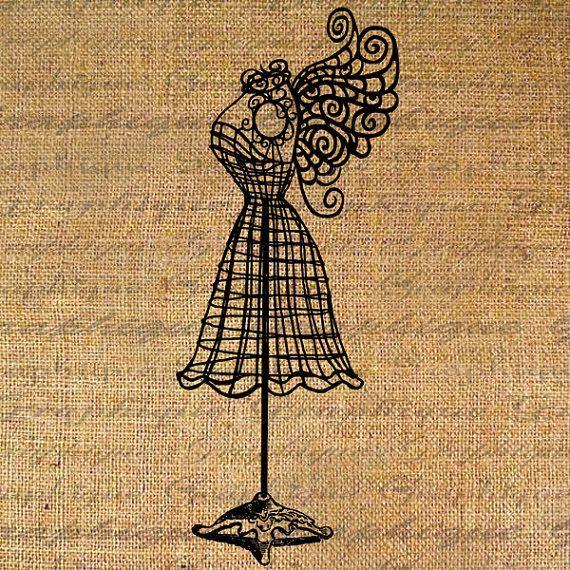 570x570 Vintage Dress Form Drawing