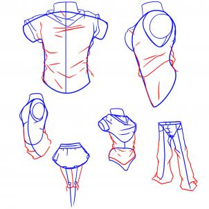 302x302 How To Draw Anime Clothes, Step By Step, Anime People, Anime, Draw
