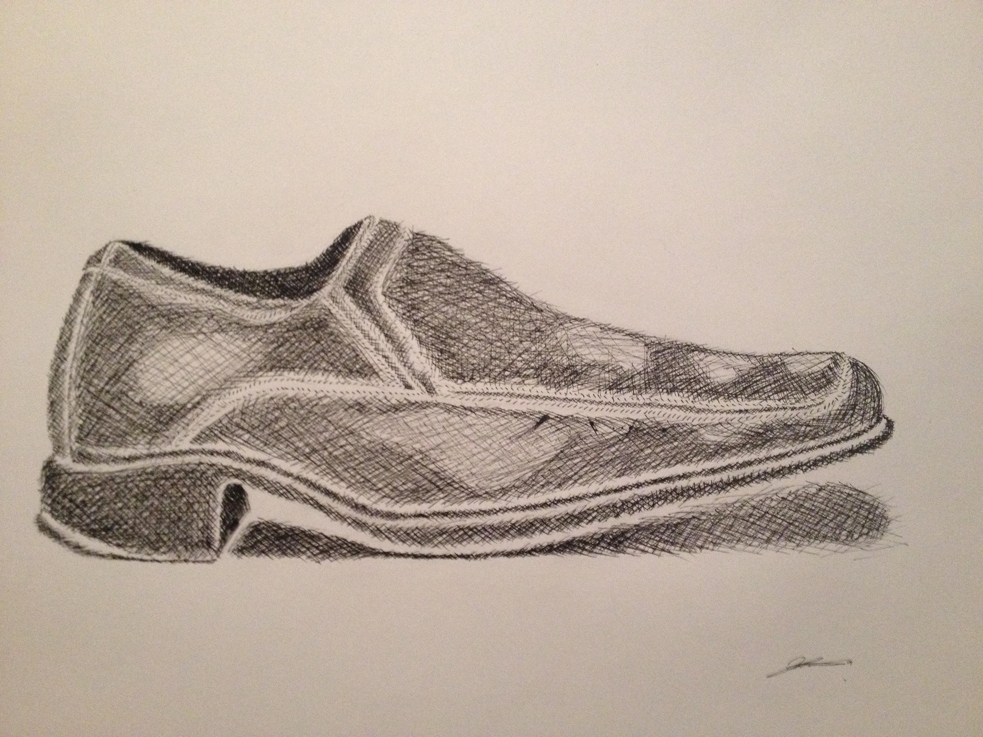3264x2448 Cross Hatch Drawing Of My Dress Shoe My Art Cross
