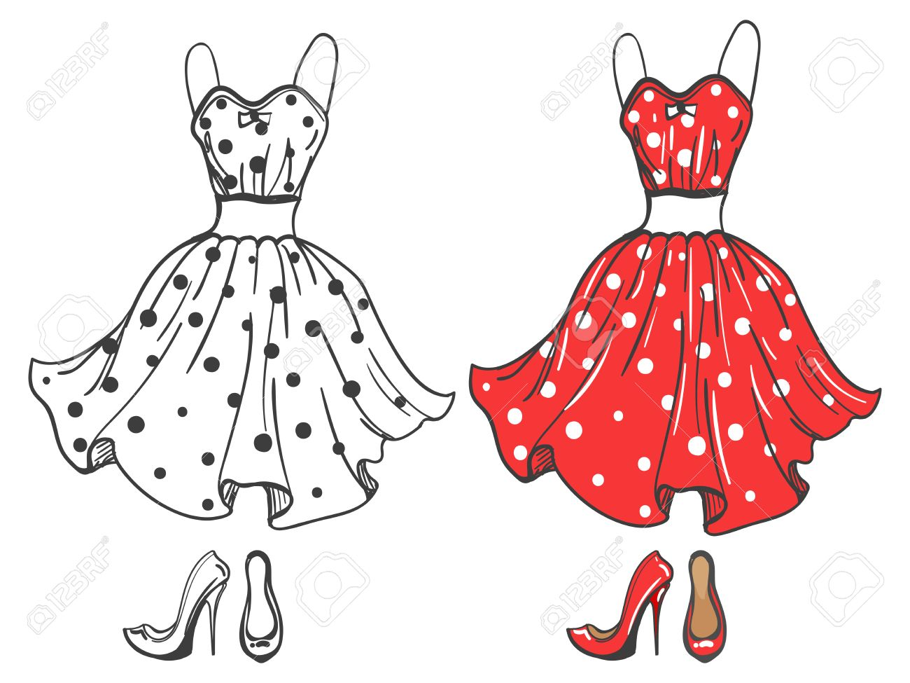 1300x975 Fashion Polka Dot Dress And Shoes. Vector Dress Sketch And Cartoon