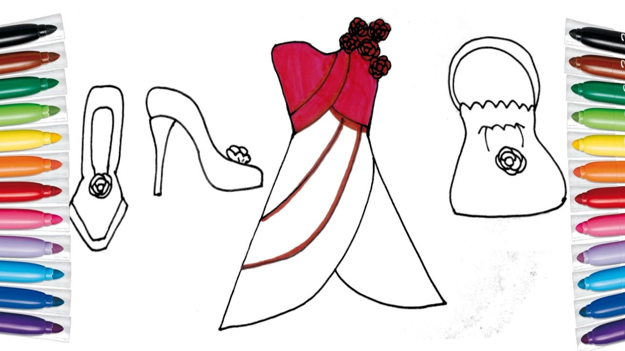 1280x720 How To Draw And Color Barbie Dress Bag Shoes For Girls. Coloring