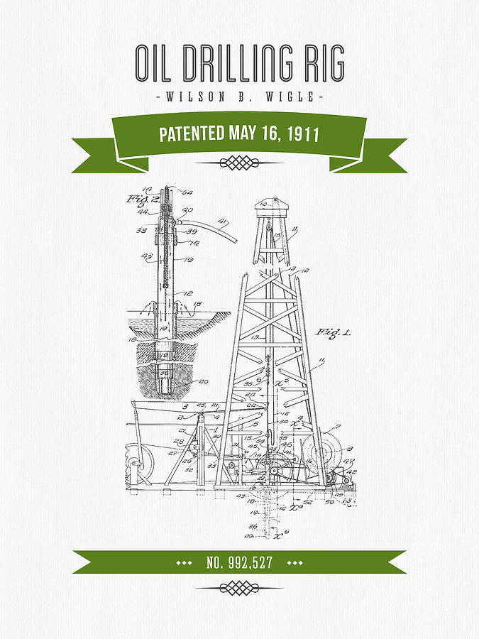 675x900 1911 Oil Drilling Rig Patent Drawing
