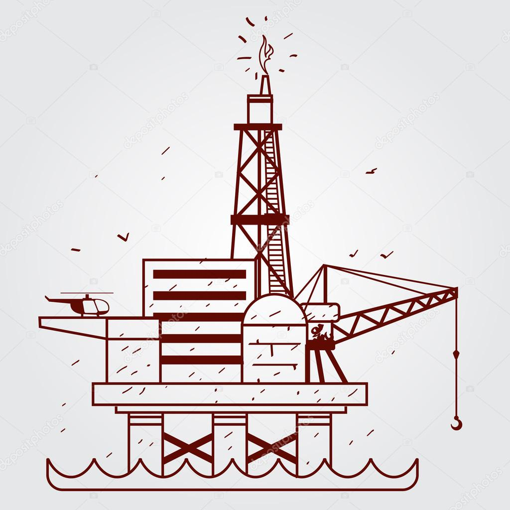 1024x1024 Gas, Oil Platform. Outline Drawing. Stock Vector Filkusto