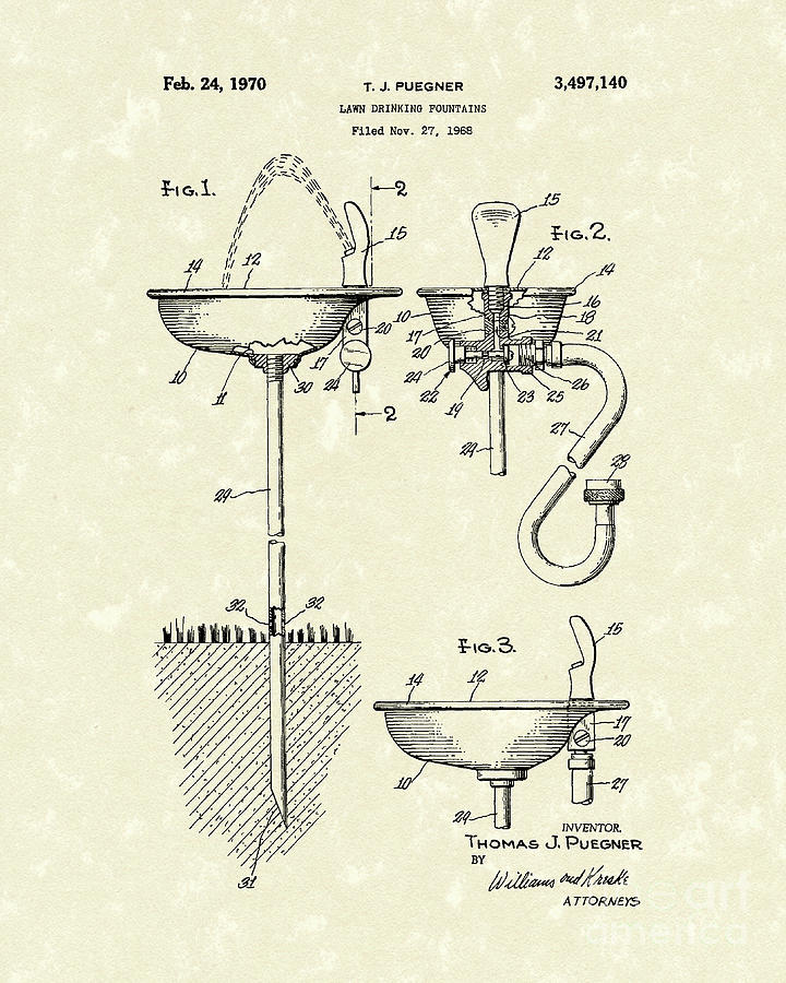 720x900 Drinking Fountain 1970 Patent Art Drawing By Prior Art Design