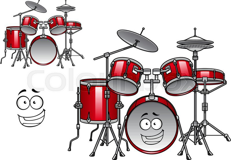 800x556 Cartoon Red Drum Set Character With Shiny Cymbals And Happy