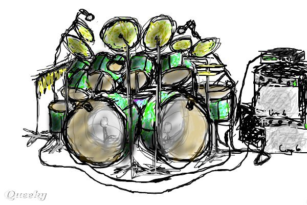 600x400 Drum Drawings Drum Set A Music Drawing By Drawlikeapro