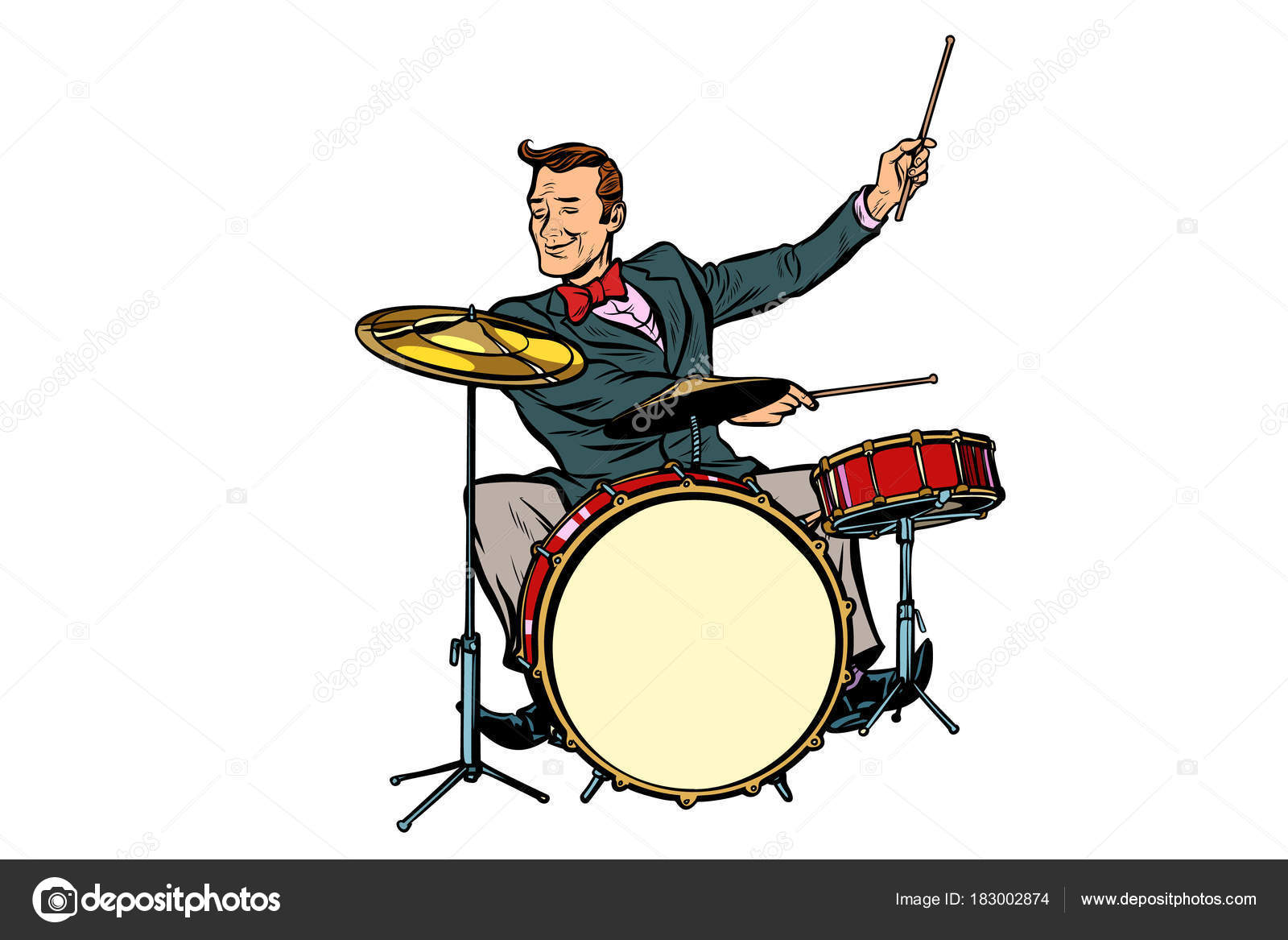 1600x1167 Retro Drummer Behind The Kit Stock Vector Studiostoks