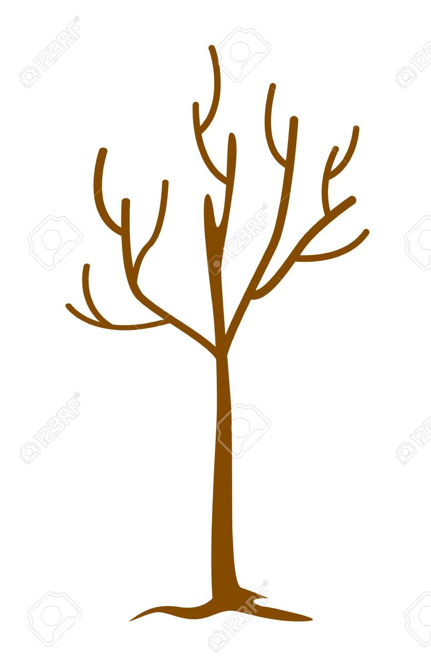 841x1300 Bare Tree Without Leaves. Dead And Dry Tree. Vector Cartoon