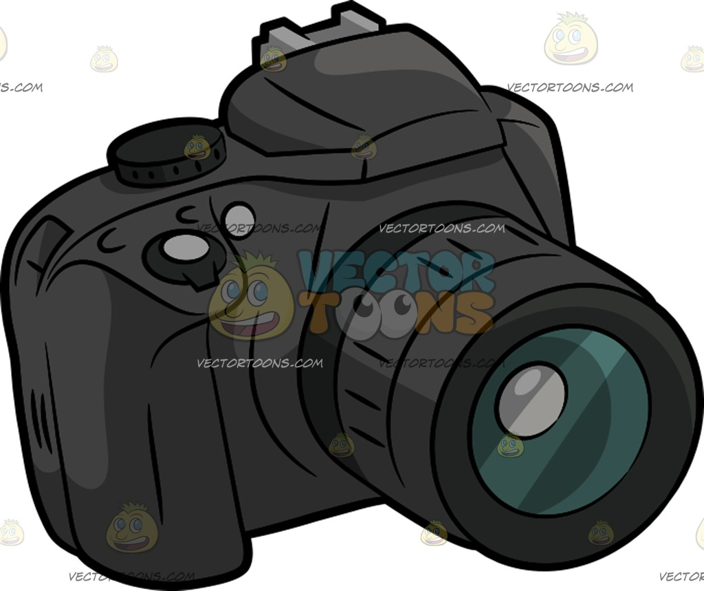 1024x859 A Black Dslr Camera Cartoon Clipart