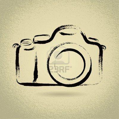 400x400 Dslr Camera Illustration With Brushwork Stock Photo