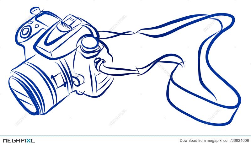 800x462 Free Hand Sketch Of Dslr Camera Vector Illustration 38824006